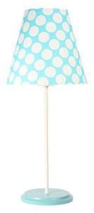 Stolná lampa s tienidlom Ombrello 60W E27 50cm modré / biele bodky small 1