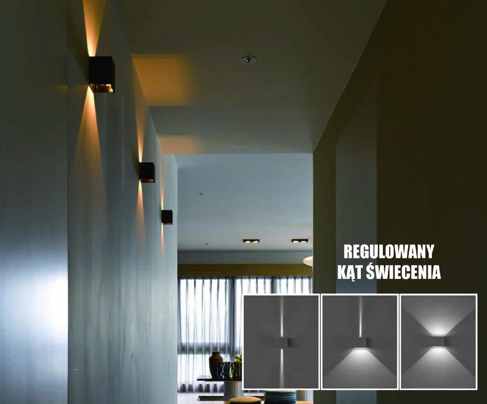 Kreo LED vonkajšie nástenné svietidlo 2x3W hranaté 4000K nastaviteľný uhol osvetlenia