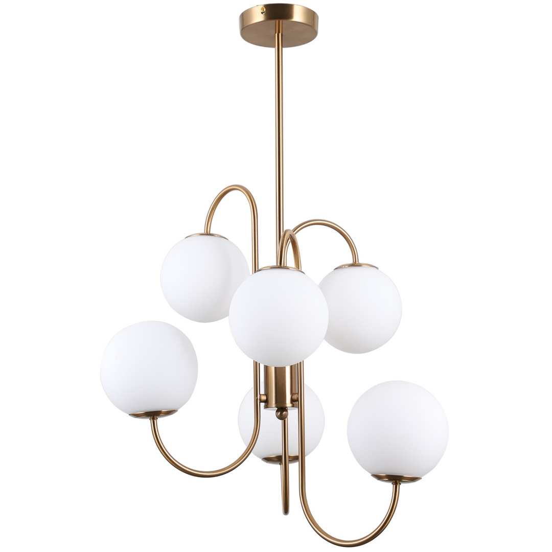 Mosadzná závesná lampa Gela G9, 6 žiaroviek