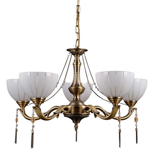 Zlatý 5-žiarovkový luster Baxio E27