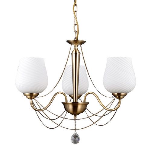 Štylizovaný zlatý luster Metamo E27 s 3 žiarovkami